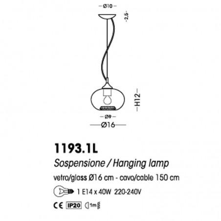 Cangini & Tucci 1193.1L Ginevra Sospensione Lampada Soffitto Vetro Soffiato e Strass