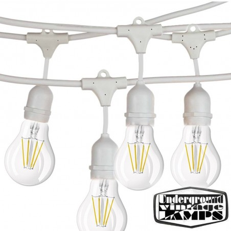 Catena Luminosa Lampadine Incluse Cordoniera Bianca 10 Portalampada E27 12,5 metri IP65 Uso Esterno Prolungabile impermeabile