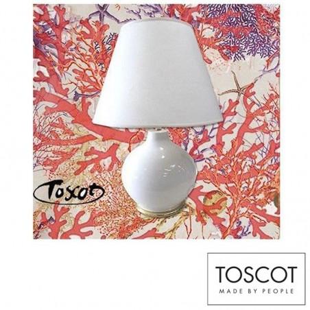 Toscot Lampada da Tavolo Bianca e Oro in Ceramica Limited Edition