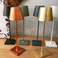 Ai Lati POLDINA metallic COPPER leaf LED Table Lamp 2W 3000K rechargeable portable IP54 for Outdoor