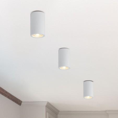 Molveno Lighting Argo Medium Cilindro a Soffitto Plafone in Gesso Tondo Gypsolyte