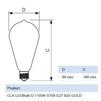 Philips Classic LED bulb E27 7W-55W 2500K 720 lm Dimmer ST64 Vintage Bulb
