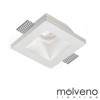 MOLVENO LIGHTING Aragon Glass LED Faretto da Incasso Gesso Vetro Quadrato