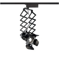 Ideal Lux Movie Track Lamp Three Phase with Springs and Adjustable Flaps Matt Black