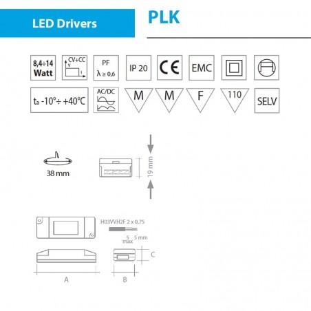 Alimentatore QLT PLK112 14W 45V 350mA per moduli led