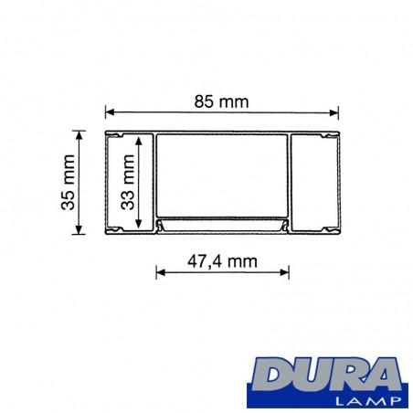 Duralamp Aluminum Profile Side Biemission 122 cm for 2 Strip LED