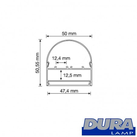 Duralamp Aluminum Profile Biemission Dome Screen 122 cm for 2 Strip LED