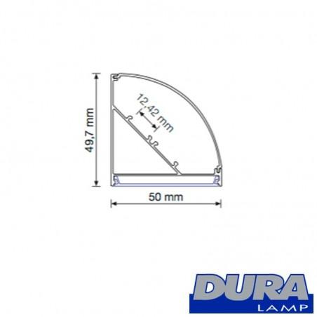 Duralamp Aluminum Profile Biemission Dome Screen 45° 122 cm for 2 Strip LED