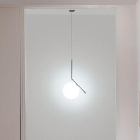 Flos IC S1 Suspension Lamp Blown Glass Chrome