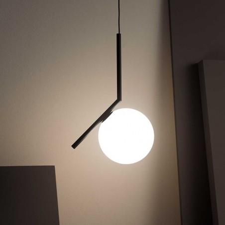 Flos IC S2 Suspension Lamp Blown Glass Chrome