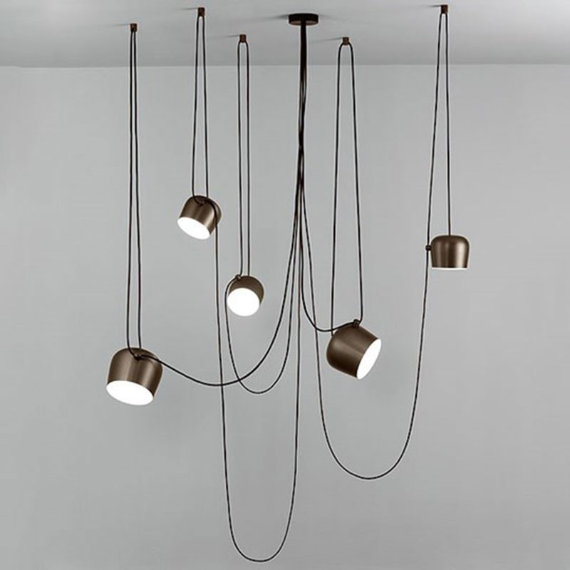 Flos aim led lampada sospensione soffitto bronzo anodizzato marrone f0090026 diffusione luce srl - Lampadari da interno ...