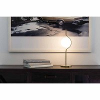 Faro LE VITA Table Lamp Gold In Aluminum and Opal Crystal Diffuser By Nahtrang
