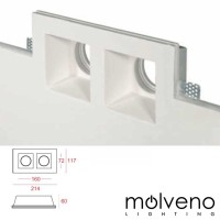MOLVENO LIGHTING Aragon Twin LED GU10 Faretto Incasso Gypsolyte Gesso