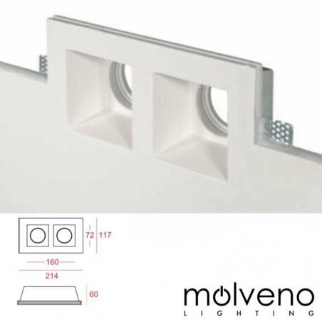 MOLVENO LIGHTING Aragon Twin LED GU10 Recessed Spotlight Gypsolyte Plaster
