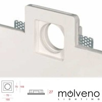 MOLVENO LIGHTING Aragon Flat LED Faretto Incasso Gesso Gypsolyte