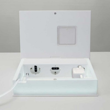 Rotaliana Multibook LED Table Lamp Clock Battery Chargers White