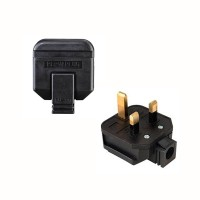 English UK Plug Socket 13A 2P + T Black Male Network Power Connector