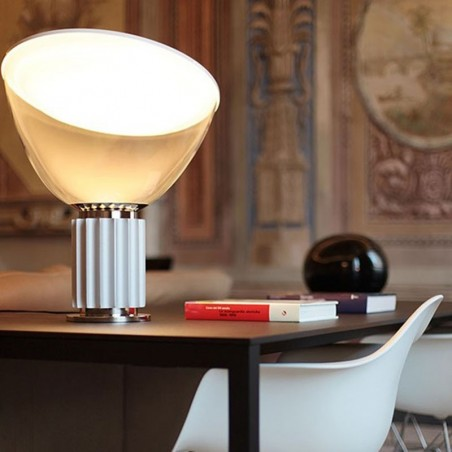 Flos Taccia LED 28W Table Lamp Anodized Silver Dimmable F6607004 Castiglioni