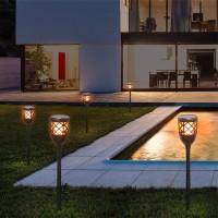 Bot Lighting Shot Flashlight Solar LED and USB Rechargeable Flame Effect With Twilight Sensor
