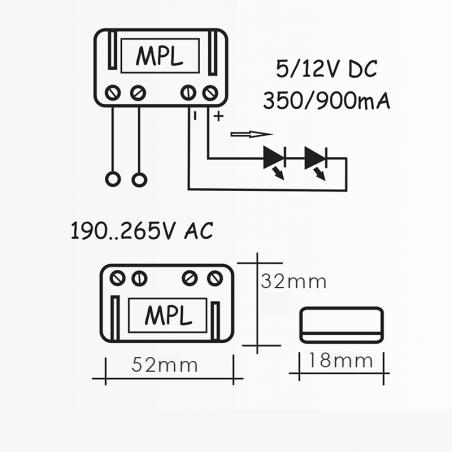 Alimentatore QLT MPL1 1,5W 6V 350mA per moduli led