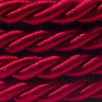 Cavo Elettrico Cordone XL In Bordeaux Lucido 3x Trecciato A Spirale 300/300V
