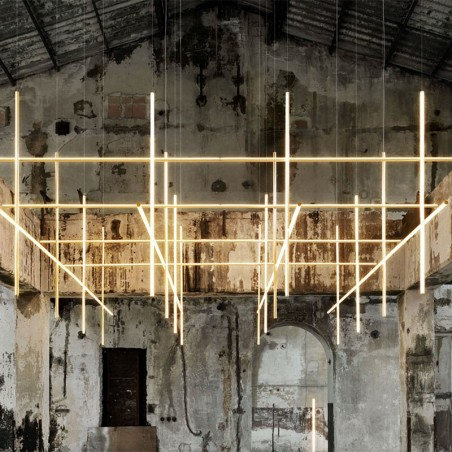 Flos COORDINATES Module S Dimmable Suspension LED Champagne Chandelier By Michael Anastassiades