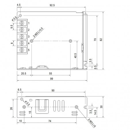 Alimentatore Meanwell LRS-35-24 36W 24V 1.5A Strip LED AC/DC