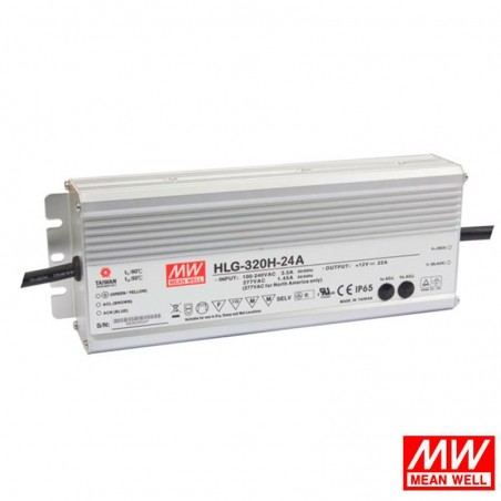 Meanwell Power Supply HLG-320H-24A 320W 24V IP65 13.3A LED Driver Dimmable Built In