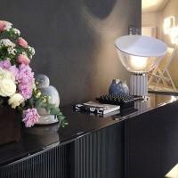 Flos Taccia LED Table Floor Lamp Glass Silver Dimmable F6602004 Castiglioni