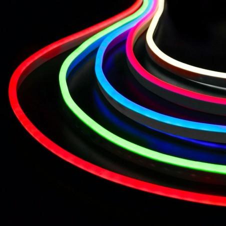 QLT Neon Striscia LED RGB 14,4W 24V Luce Continua IP67 Esterno 5 Metri Bobina Cambia Colore