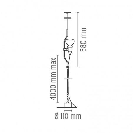 Flos Parentesi Dimmer Suspension Pendant Lamp Nickel F5600058 Achille Castiglioni