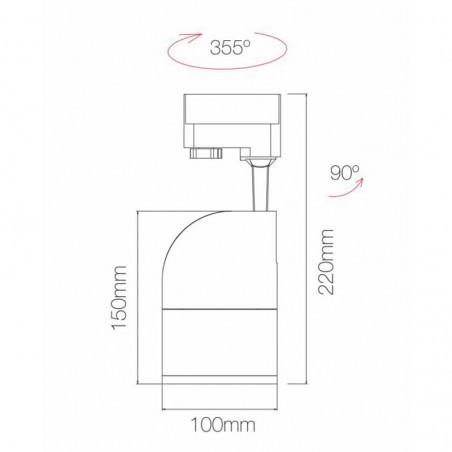 Beneito Faure ASTON 20W SWITCH LED Tricolor Proiettore da Binario Fascio Regolabile Faretto Cilindrico