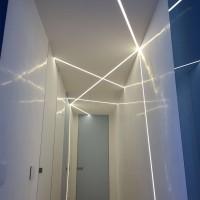 Lampo Kit Profilo In Alluminio Taglio Di Luce Medio 2 Metri Per Controsoffitto A Scomparsa