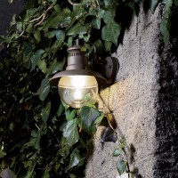 Sovil Mirò Lantern E27 Applied Low Wall Lamp In Grey Aluminum For Outdoor