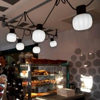 Martinelli Luce Kiki LED kit 10 Suspension Lamps Diffused Light For Outdoor IP54 By Paola Navone