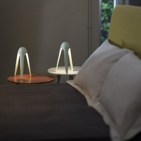 Martinelli Luce Pipistrello MED Table Lamp LED Dimmable In Steel By Gae Aulenti