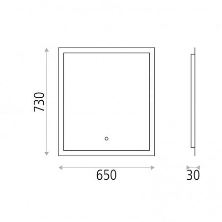 ACB Amanzi Illuminated Rectangular Mirror With Perimeter Strip LED Light On/Off Touch IP44