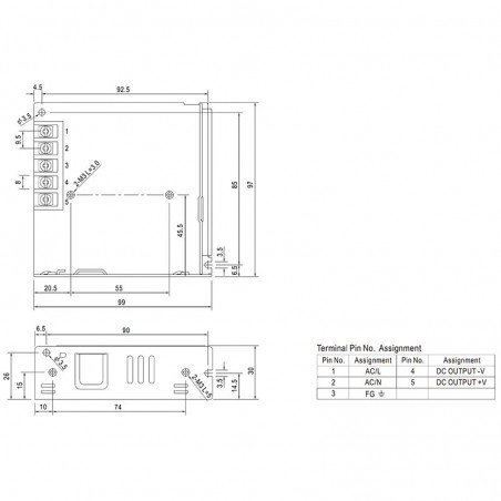 Meanwell Alimentatore LRS-75-24 76.8W 24V 3.2A Driver Tensione Costante