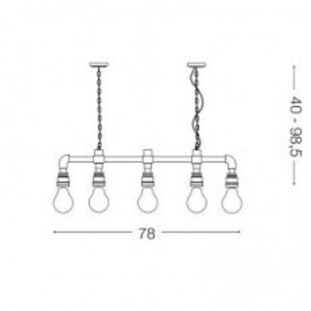 Ideal Lux Plumber SP5 Suspension Lamp Vintage Tubes