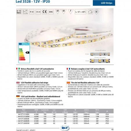 QLT Striscia LED 6W 12V 3200K IP20 Luce Calda - 1 Metro