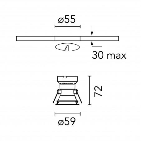 Flos Easy Kap Ø50 Fixed Optic Medium Tondo LED Faretto Incasso