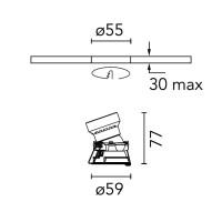 Flos Easy Kap Ø50 Orientabile Optic Medium Tondo LED Faretto Incasso