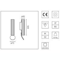 Flos Flauta Riga 1 H225 Lampada LED Bi-Emissione da Parete Dimmerabile DALI per Esterno IP65