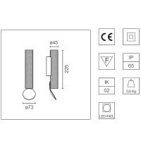 Flos Flauta Spiga 1 H225 Lampada LED Bi-Emissione da Parete Dimmerabile DALI per Esterno IP65