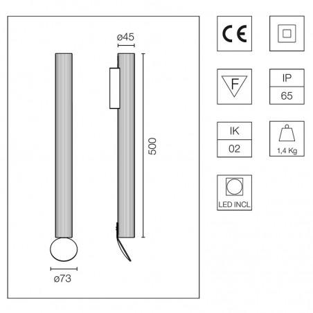 Flos Flauta Riga 2 H500 Lampada LED Bi-Emissione da Parete Dimmerabile DALI per Esterno IP65