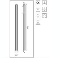 Flos Flauta Riga 3 H1000 Lampada LED Bi-Emissione da Parete Dimmerabile DALI per Esterno IP65