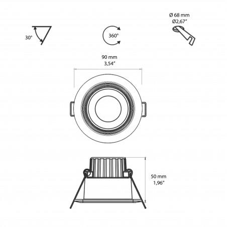 Beneito Faure Compac R Faretto LED Tondo Da Incasso Orientabile e Dimmerabile IP44