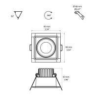 Beneito Faure Compac C Faretto LED Quadrato Da Incasso Orientabile e Dimmerabile IP44
