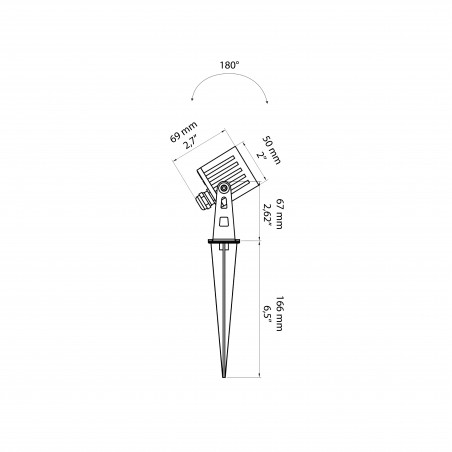 Beneito Faure Zas Quadrato Mini Proiettore a LED Regolabile da Terra per Esterno con Picchetto