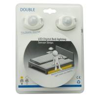 Strip LED 2x3W 3000K + 2x Sensore per Letto Matrimoniale Doppio 2x120cm